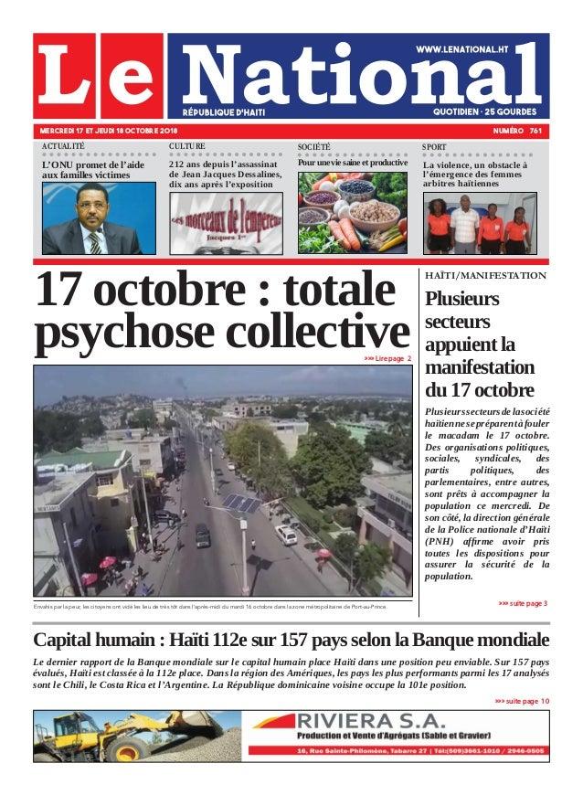 Capital humain : Haïti 112e sur 157 pays selon la Banque mondiale Le dernier rapport de la Banque mondiale sur le capital ...