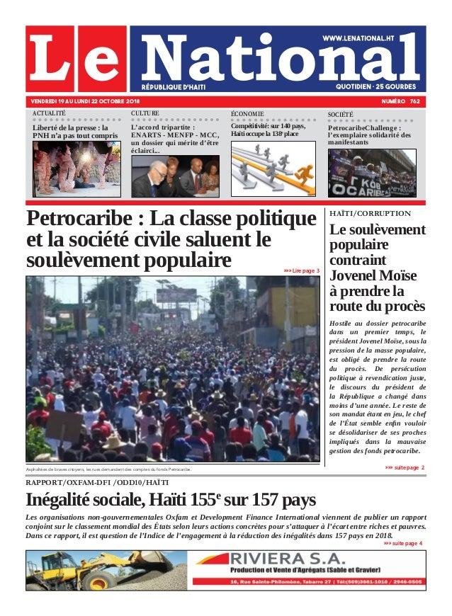 RAPPORT/OXFAM-DFI /ODD10/HAÏTI Inégalité sociale, Haïti 155e sur 157 pays Les organisations non-gouvernementales Oxfam et ...