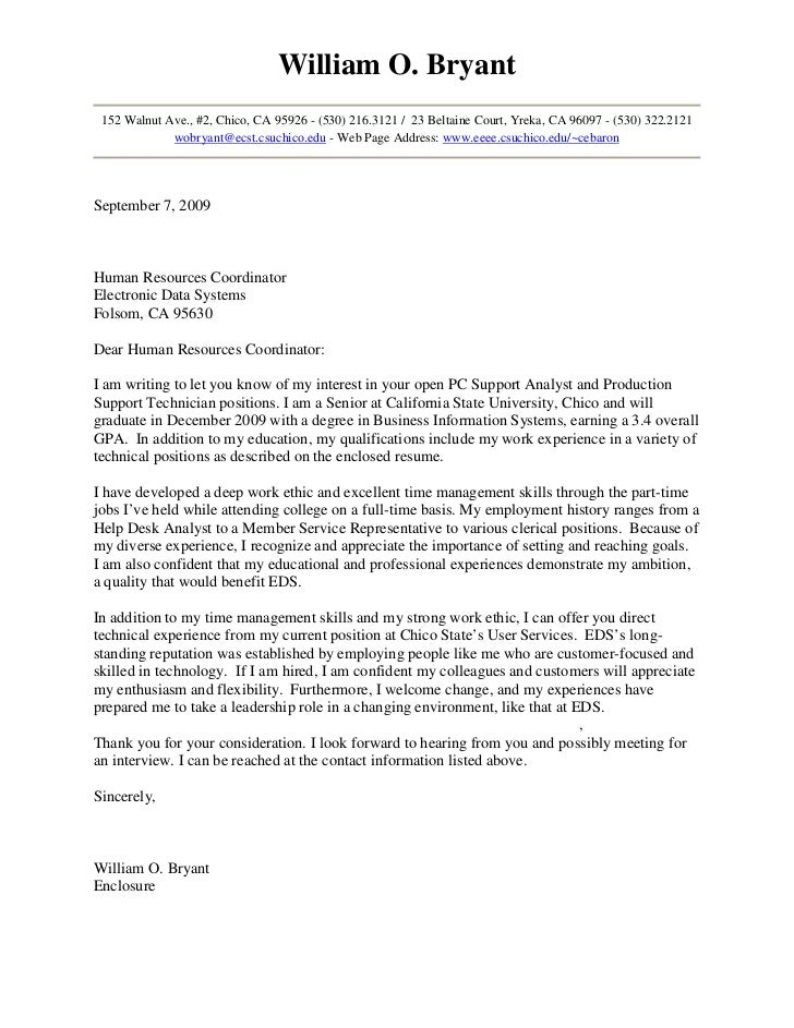 Exceptional Cover Letter 03. William O. Bryant 152 Walnut Ave., #2, Chico, CA 95926