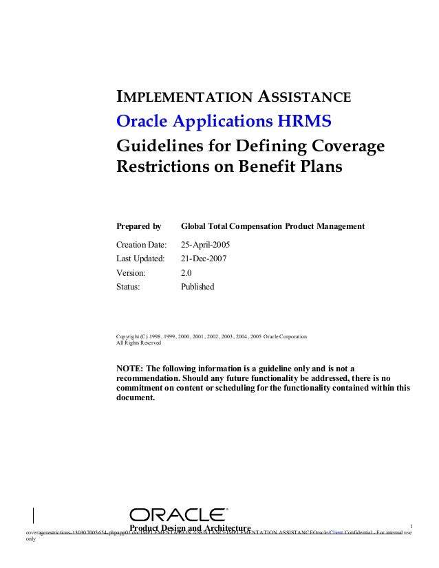 IMPLEMENTATION ASSISTANCE                                Oracle Applications HRMS                                Guideline...
