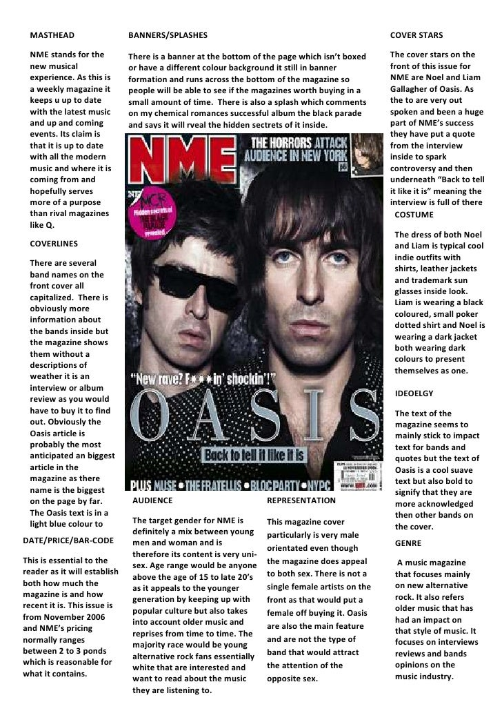 GENRE A music magazine that focuses mainly on new alternative rock. It also refers older music that has had an impact on t...