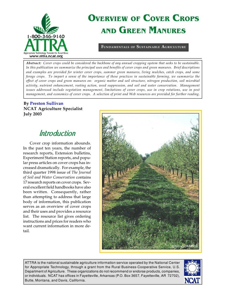 OVERVIEW O. COVER CROPS                                            AND GREEN MANURES                                      ...