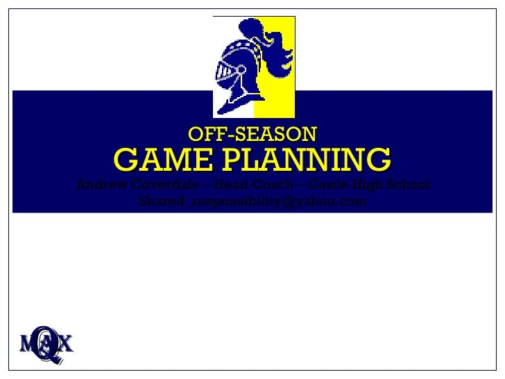 OFF-SEASON GAME PLANNING Q MAX Andrew Coverdale – Head Coach – Castle High School [email_address]