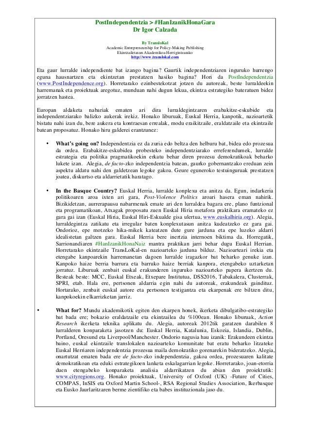 PostIndependentzia > #HanIzanikHonaGara Dr Igor Calzada By TransloKal Academic Entrepreneurship for Policy-Making Publishi...