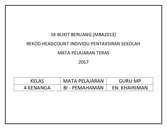 SK BUKIT BERUANG [MBA2013] REKOD HEADCOUNT INDIVIDU PENTAKSIRAN SEKOLAH MATA PELAJARAN TERAS 2017 KELAS MATA PELAJARAN GUR...