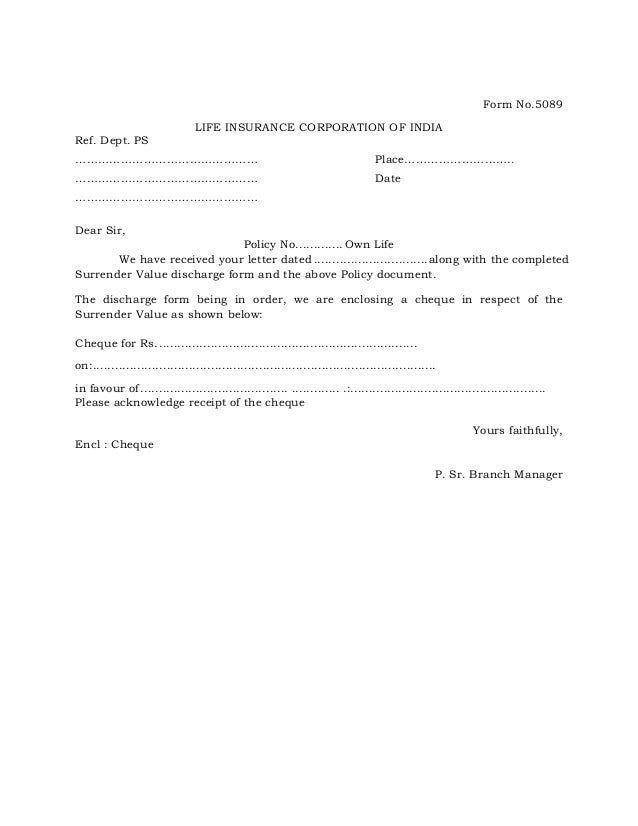 sample insurance surrender letter  Covering letter for surrender value form 5089
