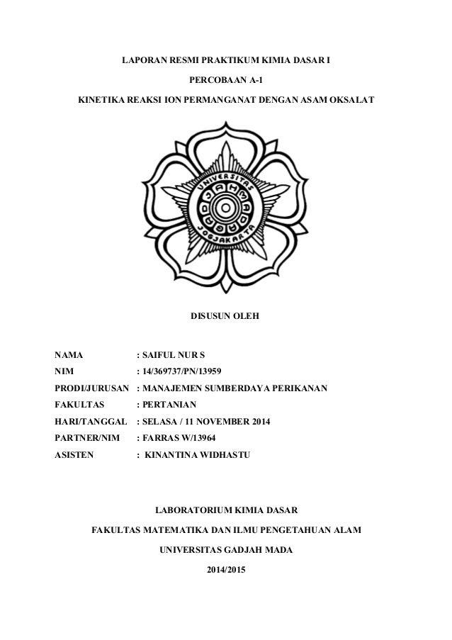 Cover Laporan Resmi Praktikum Kimia Dasar I A 1