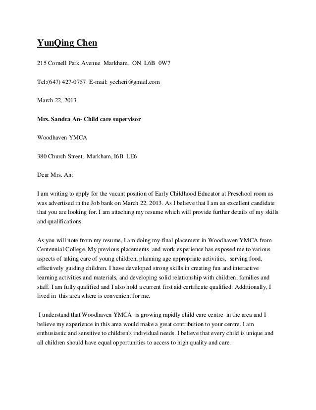 Good Cover Letter. YunQing Chen215 Cornell Park Avenue Markham, ON L6B  0W7Tel:(647) 427  ...