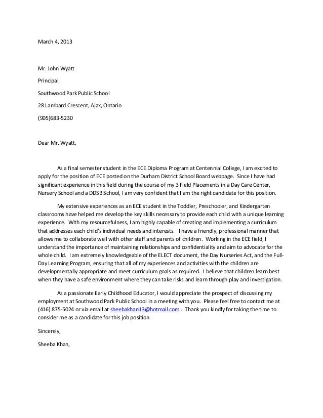 Cover letter to principal for teaching position – Sample Education Cover Letter Example