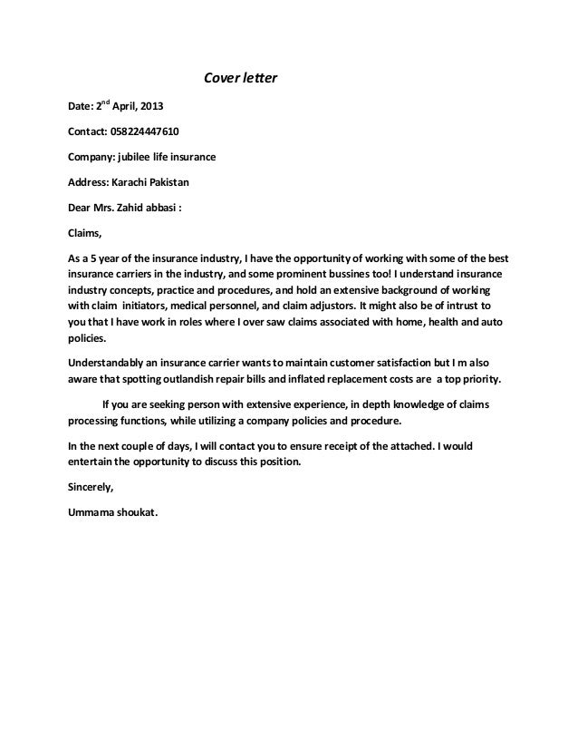 Cover letter for Cover letter for working with animals