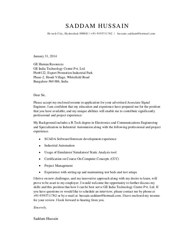 Cover Letter For Electronics Communications Student