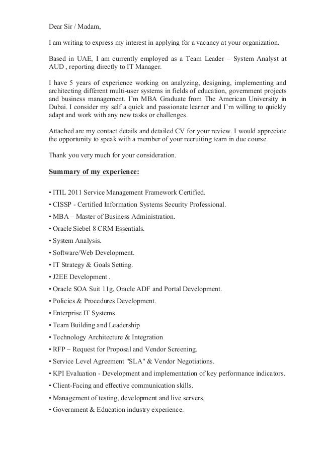 Cover letter for Express of interest cover letter