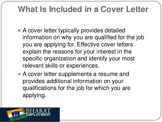 Bharat employment cover letter for What do you put in a covering letter