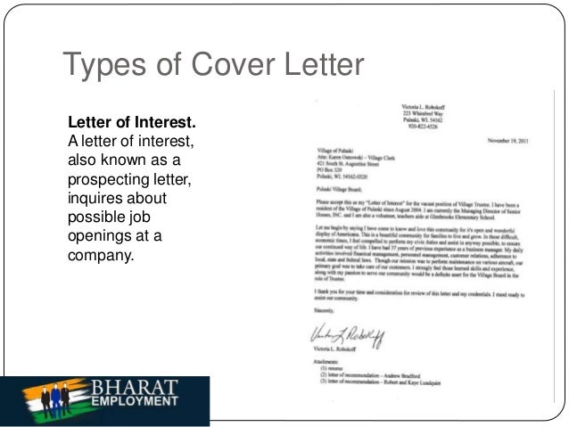types of cover letter letter of interest a letter of