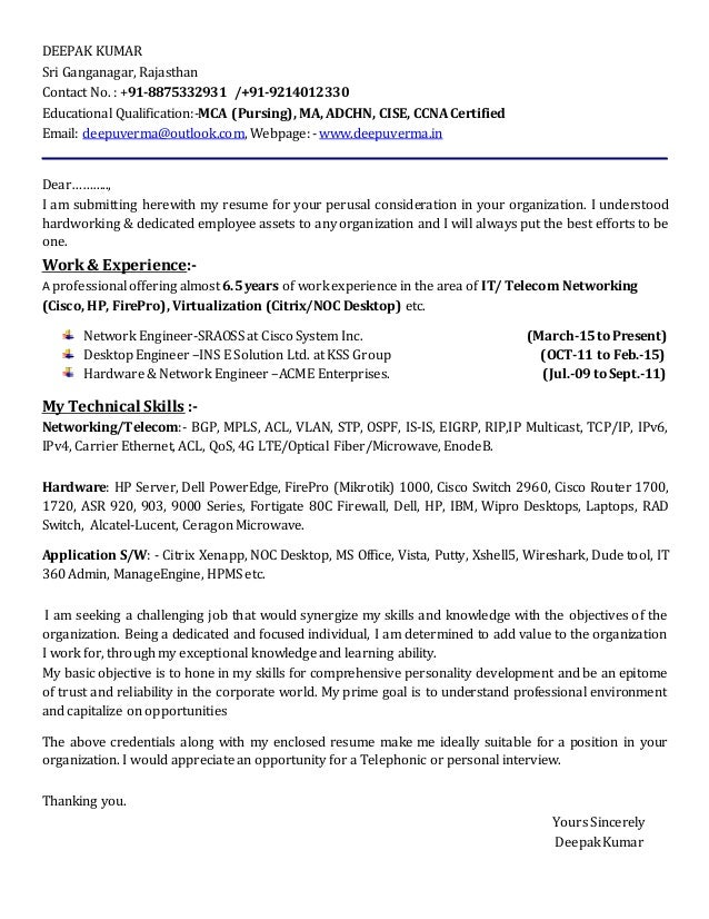 Attractive Cover Letter For Network Engineer. DEEPAK KUMAR Sri Ganganagar, Rajasthan  Contact No. : +91 8875332931 /+ On Network Engineer Cover Letter