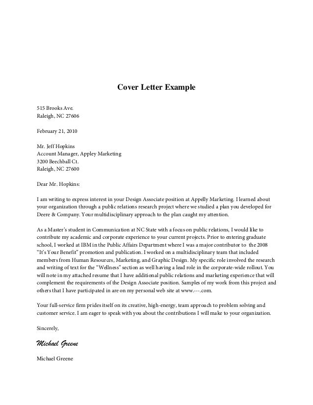 Cover letter content for Contents of a good cover letter