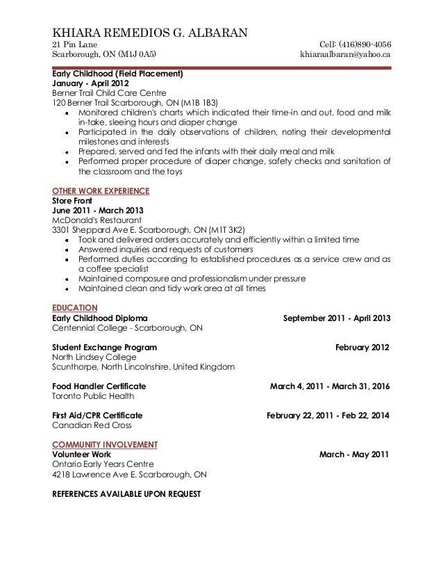 Cover letter and resume for Field placement cover letter