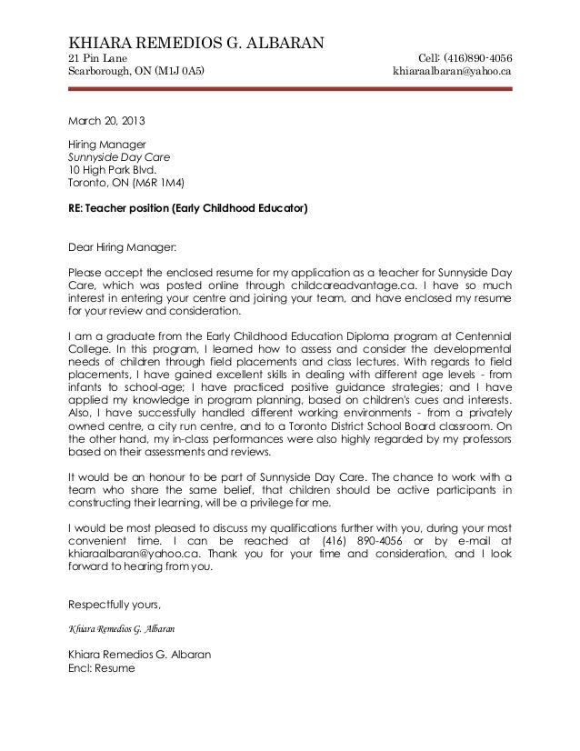 Cover Letter And Resume. KHIARA REMEDIOS G. ALBARAN21 Pin Lane ...  Early Childhood Education Cover Letter
