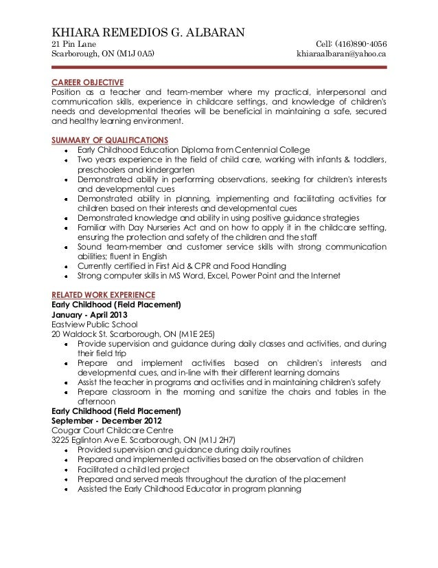 childcare resume sample