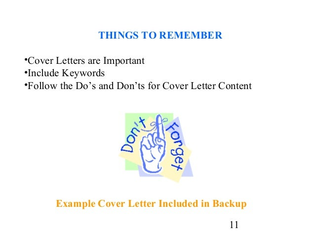 11 THINGS TO REMEMBER OCover Letters