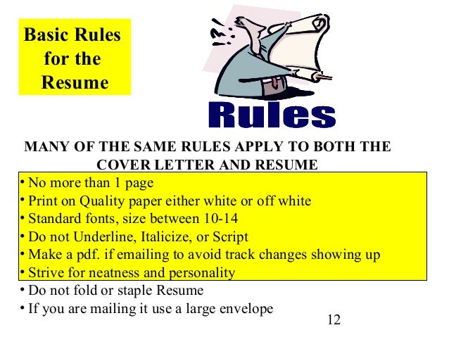 High Quality ... 12. 12 Basic Rules For The Resume ...