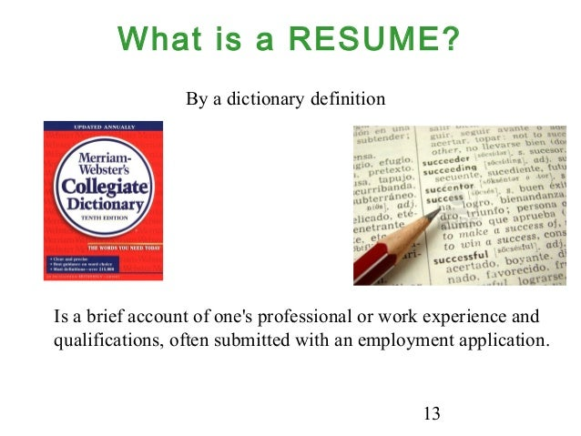 to resume definition