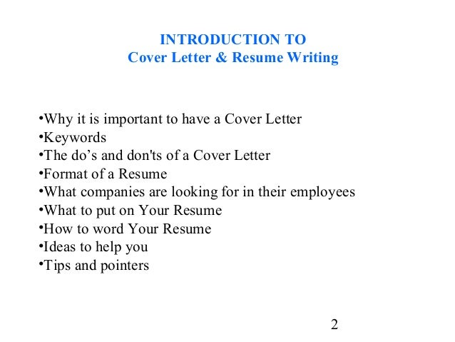 Cover letter of introduction for resume