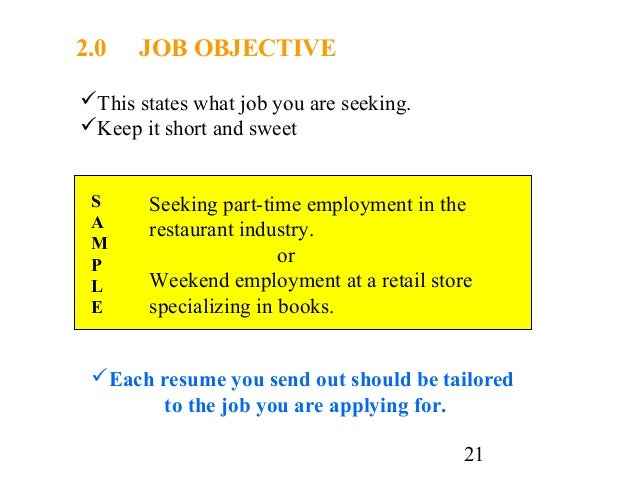 employment objective or cover letters