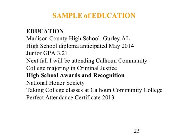 23 23 sample of education education madison county high school - Sample College Resumes For High School Seniors