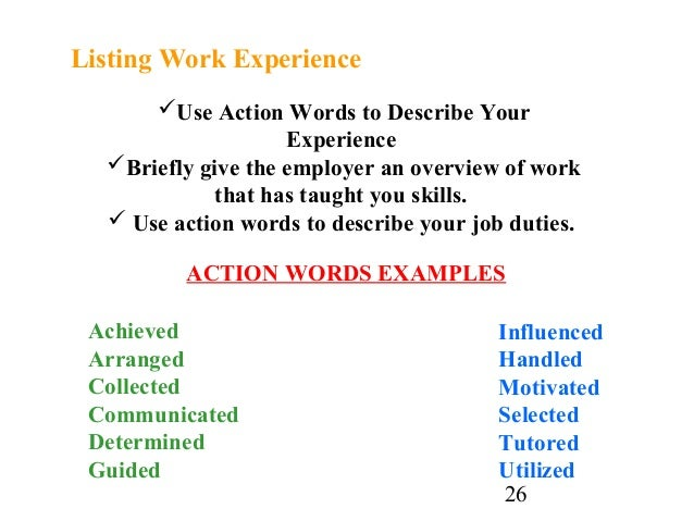 ... Participant; 26. 26 Use Action Words To Describe ...  Describing Words For Resume