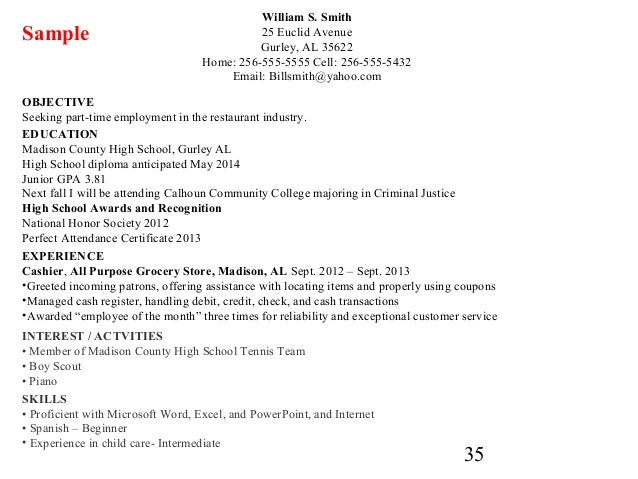 resume for a highschool graduate