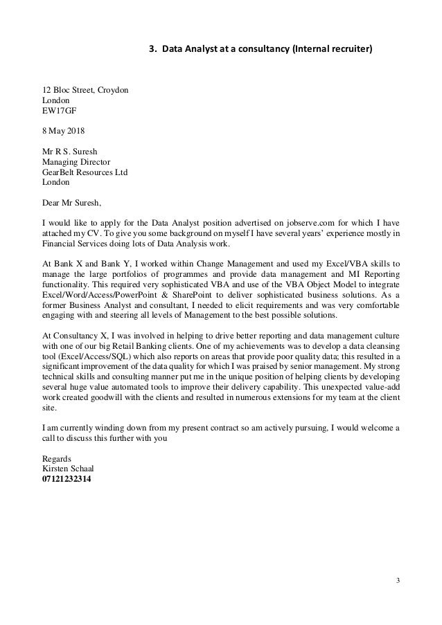 Cover letter for different job applications