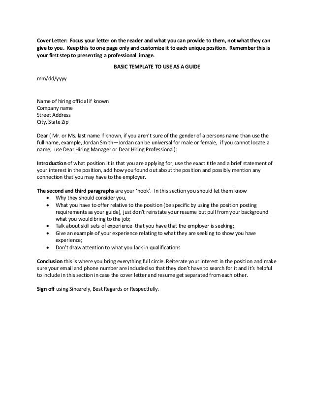 basics jobs cover letters Success