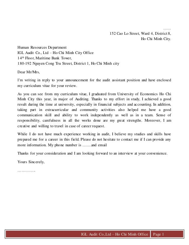 Cover Letter U0026 C.v. IGL Audit Co,.Ltd U2013 Ho Chi Minh Office Page 1 U2026