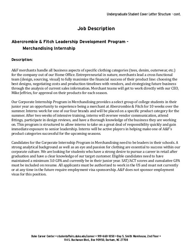 cover letter sample student affairs