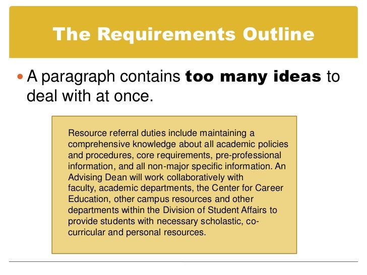 23 the requirements outline