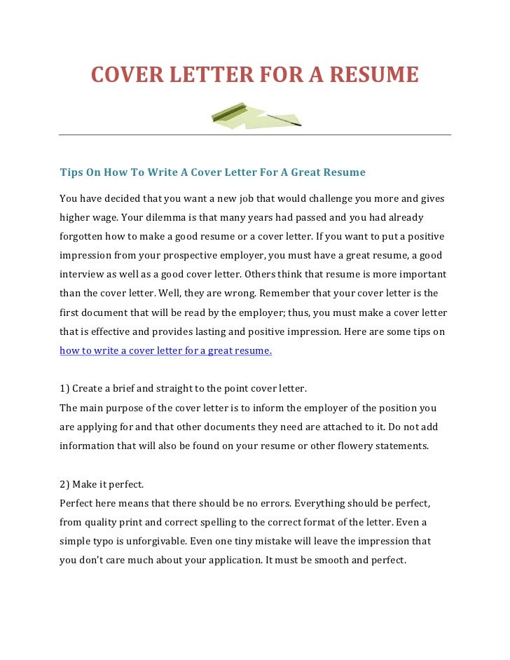 COVER LETTER FOR A RESUMETips On How To Write A Cover Letter For A Great  ResumeYou ...
