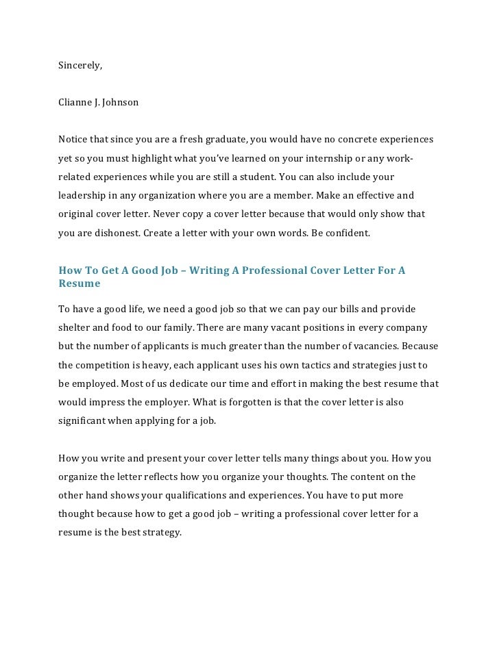 How to write a cover letter for a resume for What needs to be included in a cover letter