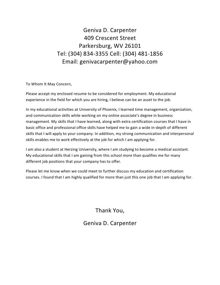 Cover letter for geniva d carpenter for General cover letter to whom it may concern
