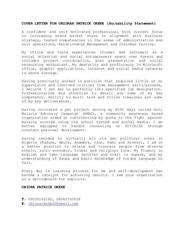 Cover letter for obiorah patrick okeke 2016