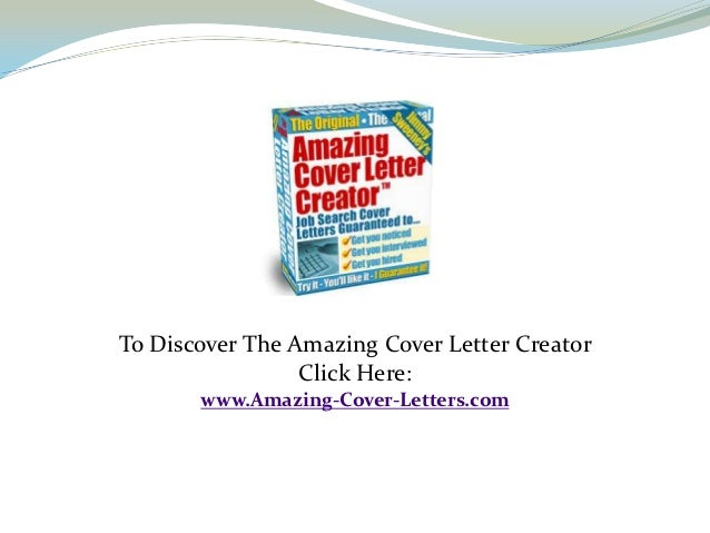 Amazing Cover Letter Creator. Resume Cover Letter Example Template