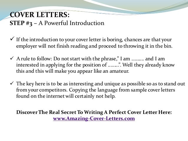 COVER ...  How To Write An Amazing Cover Letter