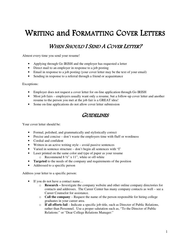 edu 2 writing and formatting cover letters when should i send - When To Send A Cover Letter