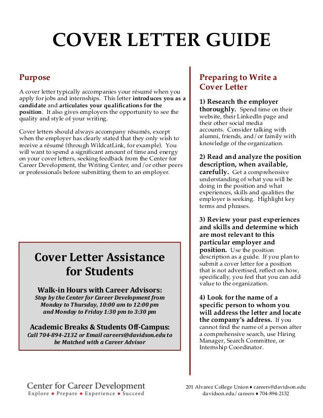 Superior Davidson College Cover Letter Guide. 201 Alvarez College Union ♢  Careers@davidson.edu Davidson.edu/careers ... Intended Cover Letter Guide
