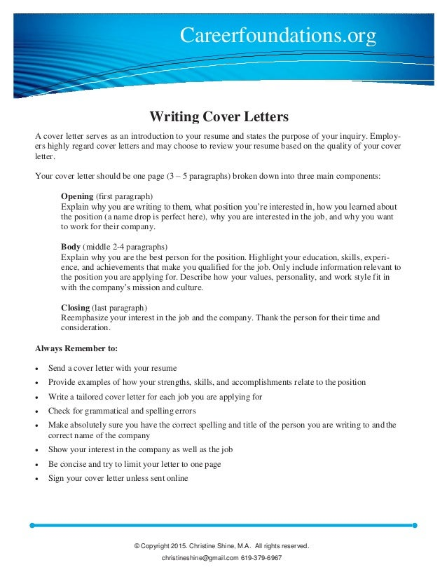 Cover Letter Writing Guide. © Copyright 2015. Christine Shine, M.A. All  Rights Reserved. Christineshine@gmail.  Guide To Writing A Cover Letter