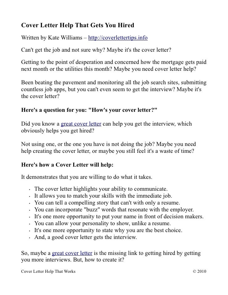 cover letter help that gets you hired written by kate williams http