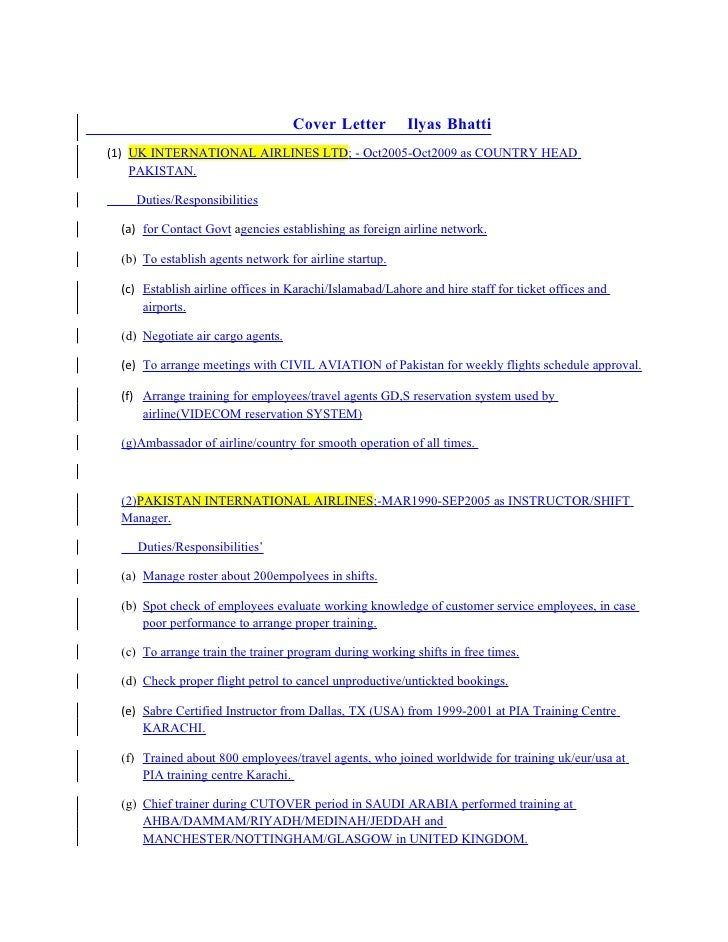 Cover Letter Ilyas Bhatti (1) UK INTERNATIONAL AIRLINES LTD;    Oct2005 Oct2009 ...