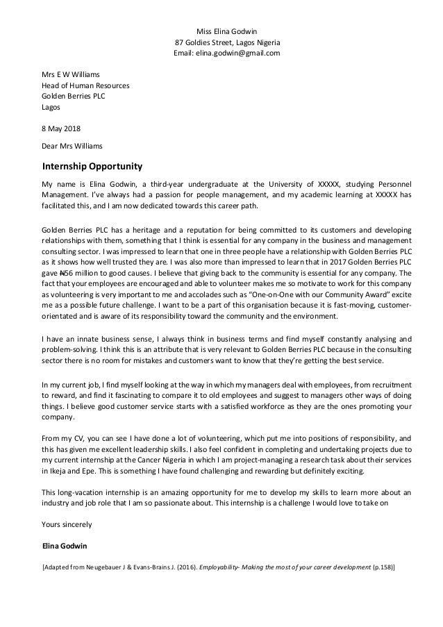 Cover letter internship 1