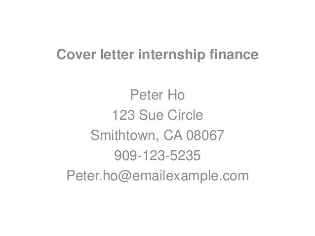 cover letters for finance internships