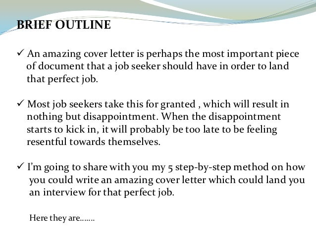 blueprint 2 brief outline an amazing cover letter